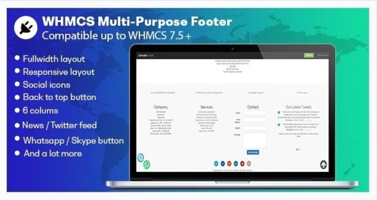 Whmcs multifunctionele voettekst