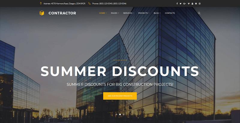 thèmes WordPress pour créer un site Web d'architecte - Contractor