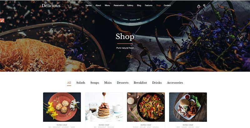 Délicious themes wordpress creer site web restaurant recettes menus plats