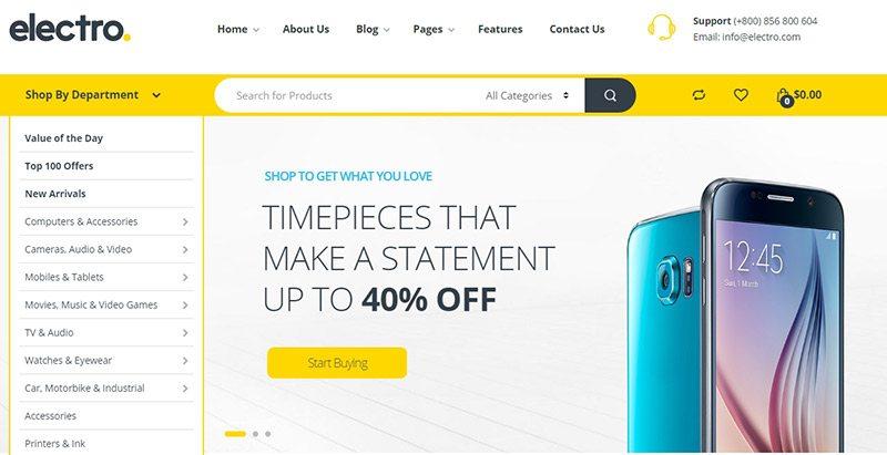 Electro themes wordpress creer site marketplace ecommerce
