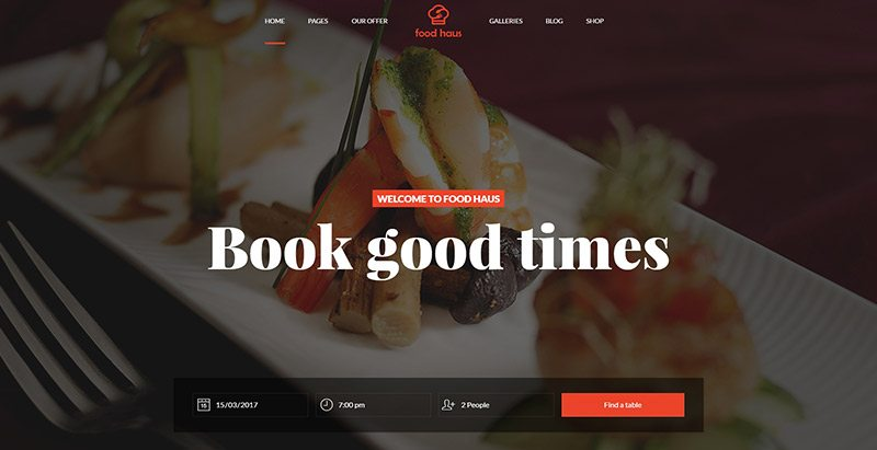 Food haus themes wordpress creer site web restaurant recettes menus plats