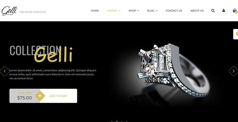 thèmes WordPress pour créer une boutique en ligne de bijoux - Gelli