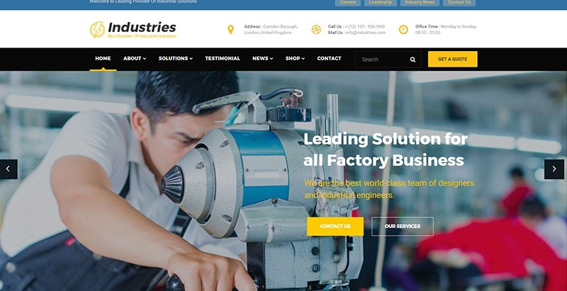 Industries themes wordpress creer site web entreprise manufacturiere