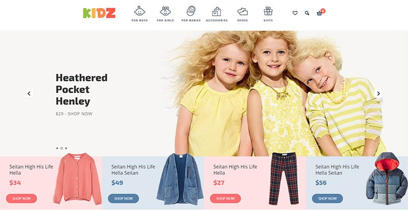 Kidz themes wordpress creer boutique en ligne enfant site ecommerce