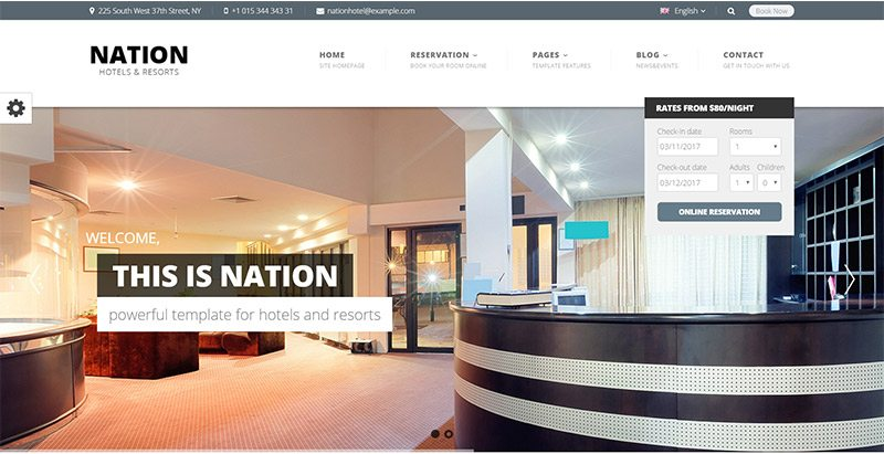 Nation hotel themes wordpress creer site web auberge motel hotel