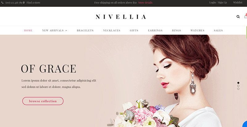 Nivellia themes wordpress creer site ecommerce vente bijoux