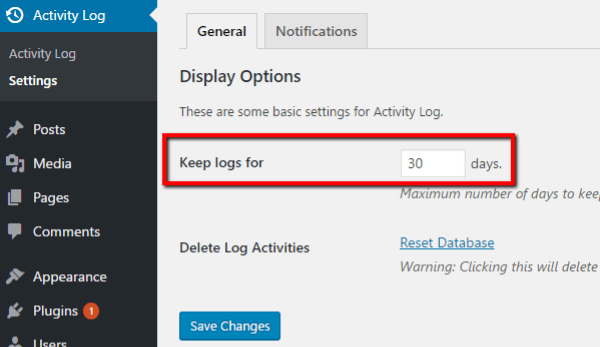 Activity log configuration