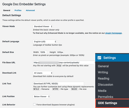 Configuration du plugin gde WordPress