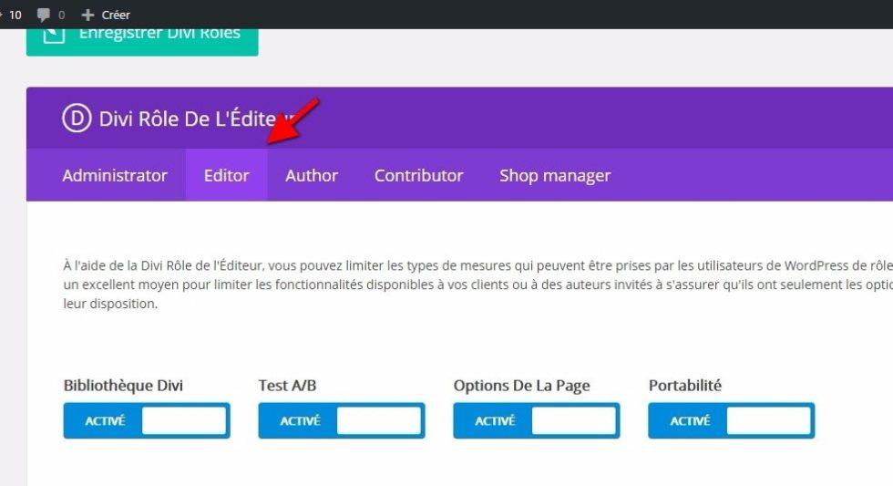 Edition du role editeur pour divi sur wordpress