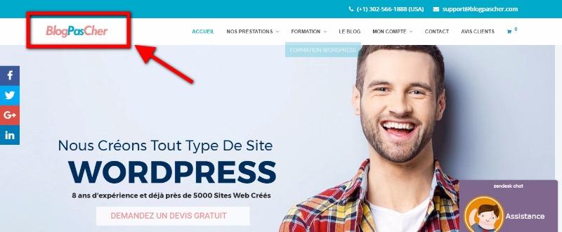 Logo auf dem linken WordPress platziert