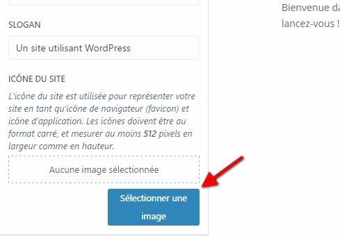 Selectionner une image customizer wordpress favicon