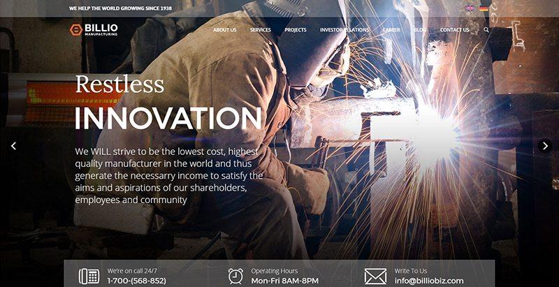 Billio themes wordpress creer site web entreprise construction agence