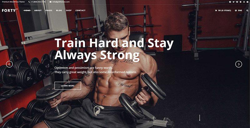 Forty themes wordpress site web club fitness gym