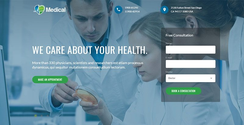 Temas de 10 WordPress para crear un sitio web de un centro de salud ...