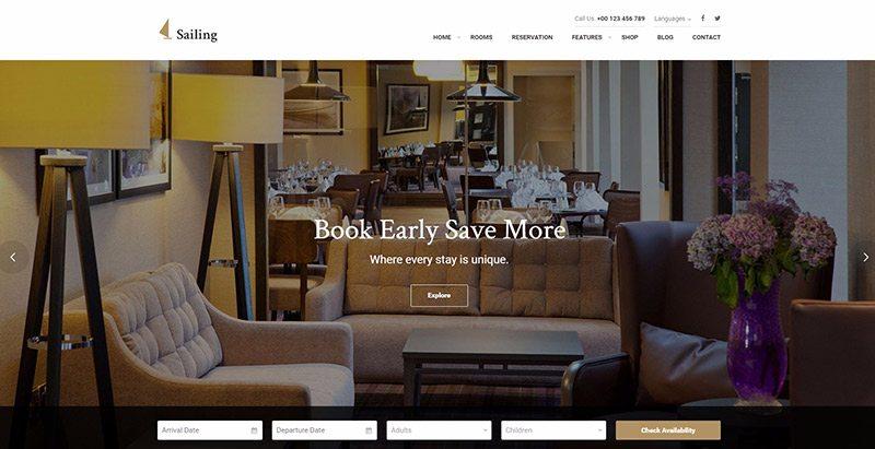 Sailing themes wordpress creer site web hotel motel restauration evenement