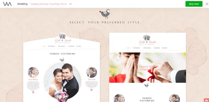 meilleurs thèmes WordPress - Wedding planner