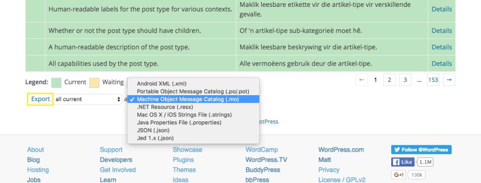 Exportation de fichier catalogue de traduction wordpress