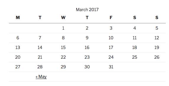 Widget calendrier