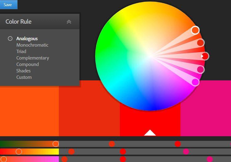 créer une palette de couleurs - Adobe color cc