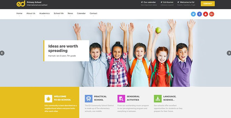 Ed school themes wordpress creer site web e learning formation universite ecole college