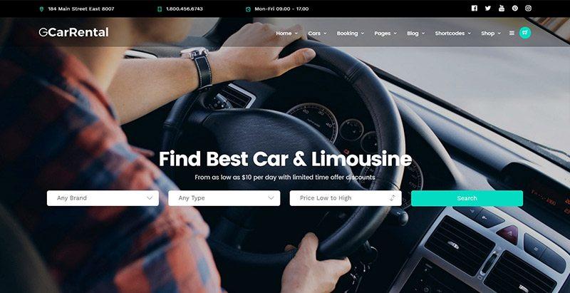 Grand Car Rental themes wordpress creer site web concessionnaire voitures mecanicien vente achat vehicules