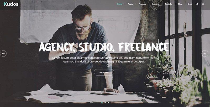 Kudos themes wordpress pour creer site web freelance travailleur independant