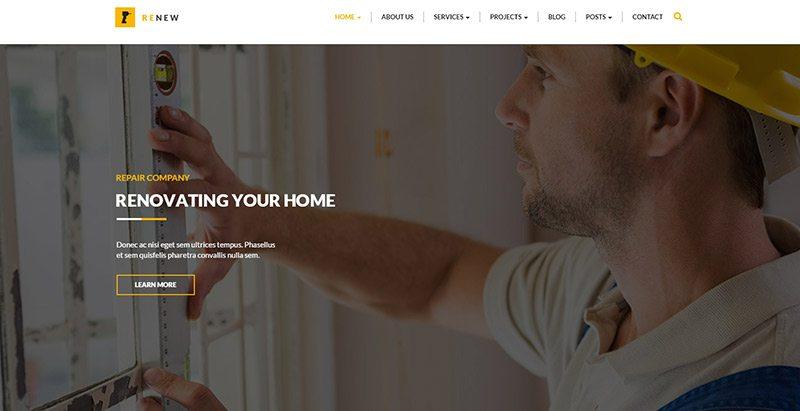 Renew themes wordpress creer site web entreprise renovation construction reparation