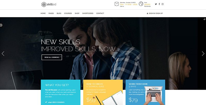 Skilled themes wordpress creer site web e learning formation universite ecole college