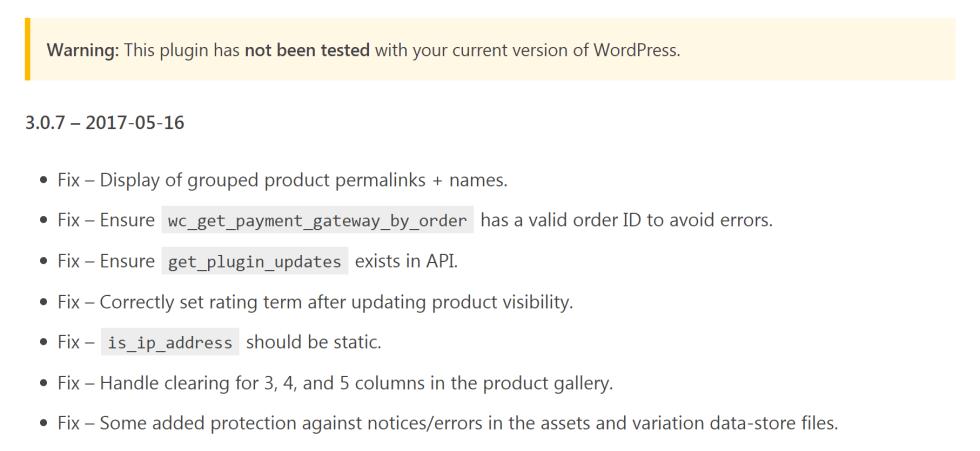 Список изменений плагинов wordpress