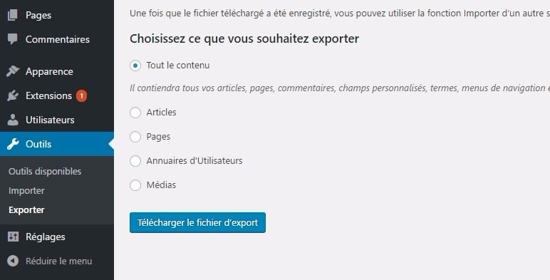 Exporter un contenu sur wordpress