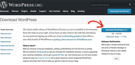 wordpress herunterladen
