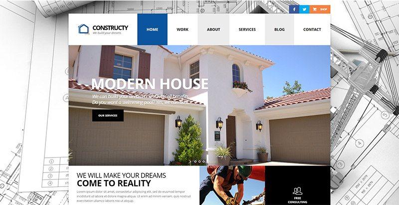 Temi wordpress per il sito web aziendale per l 39 edilizia for Sito web di costruzione di case