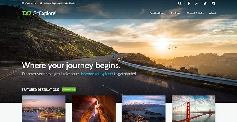 Goexplore themes wordpress creer site web agence voyages tourisme hotel tour operateur