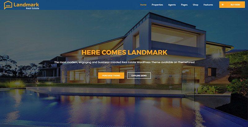 thèmes WordPress pour créer un site Web d'agence immobilière - Landmark