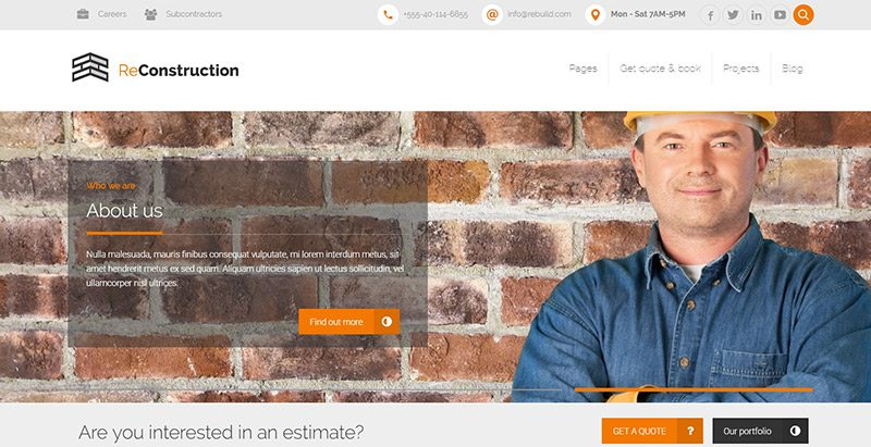 Reconstruction themes wordpress creer site web entreprise construction vitrine societe