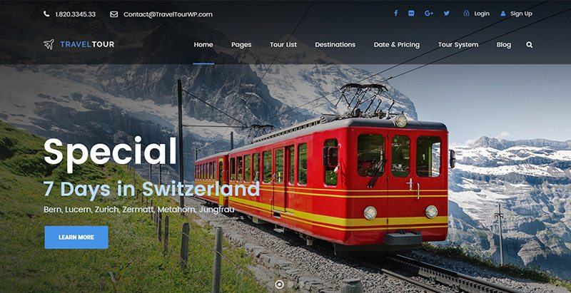 Traveltour themes wordpress creer site web agence voyages tourisme hotel tour operateur