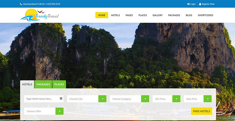 Trendytravel themes wordpress creer site web agence voyages tourisme hotel tour operateur 1