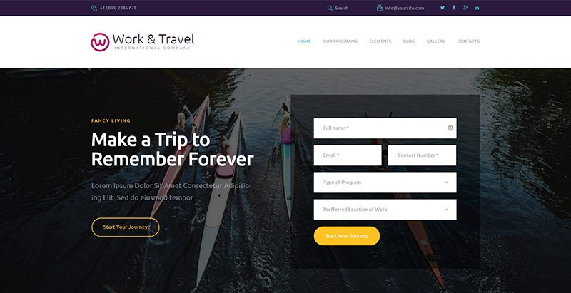 Work travel themes wordpress creer site web agence voyages tourisme hotel tour operateur