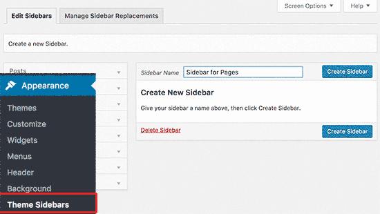 Ajouter des sidebars personnalisées