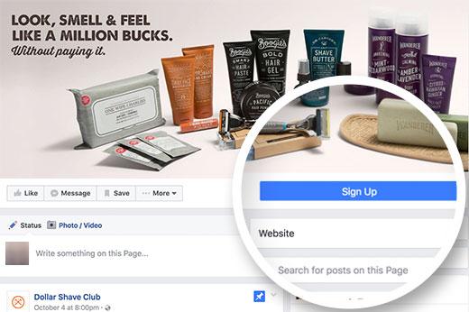 Bouton dappel à laction facebook