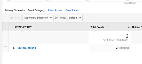 Categorie liens externe google analytics