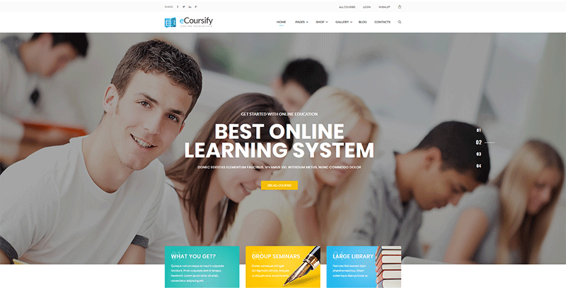 thèmes WordPress d'e-learning - Ecoursify