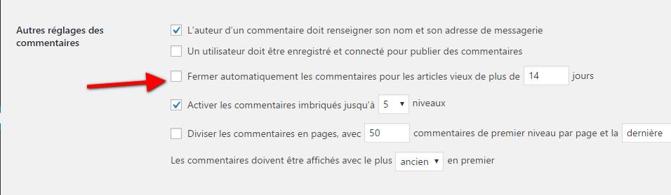 fermer automatiquement les commentaires sur WordPress