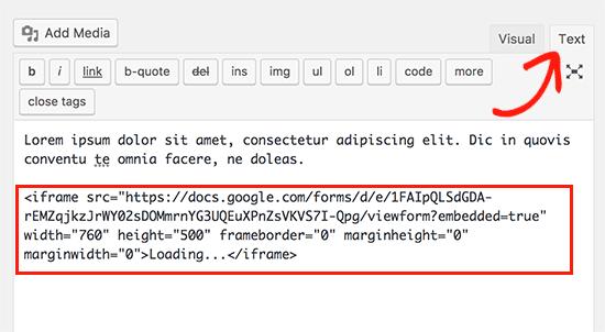 Integratin dun code google forms sur wordpress