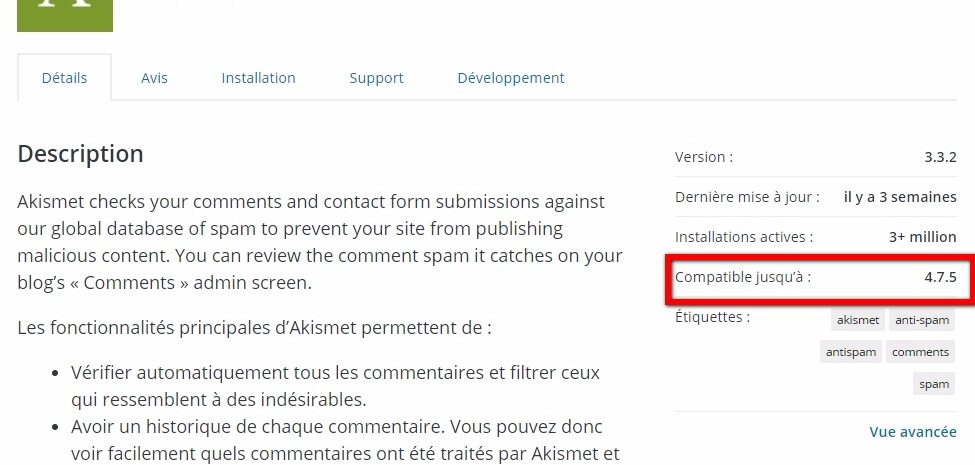 Plugins wordpress testee avec quel version de wordpress