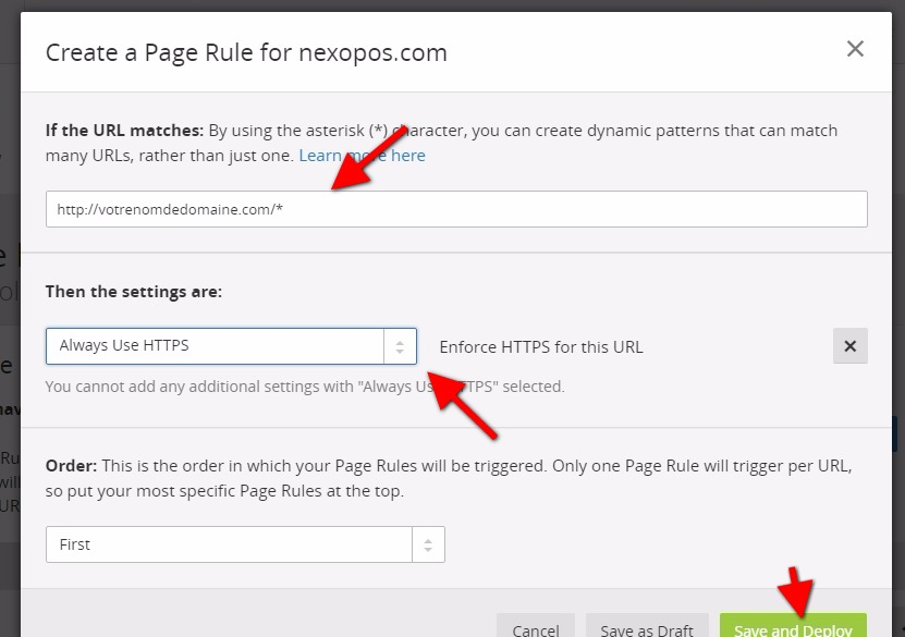 Utiliser de deployer cloudflare page rules