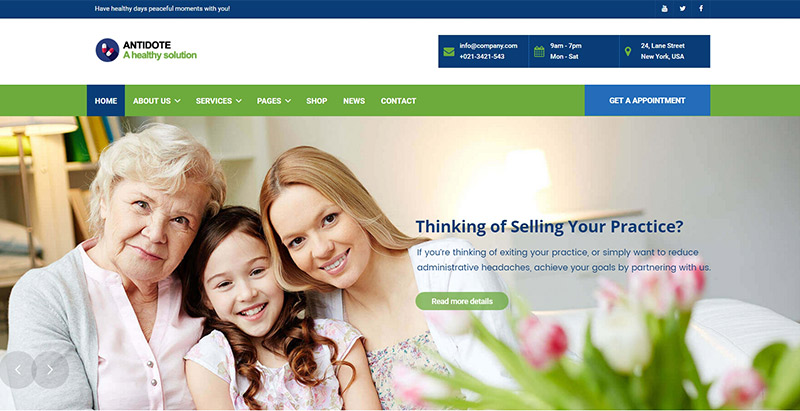 Antidotethemes wordpress creer site web hopital clinique centre sante