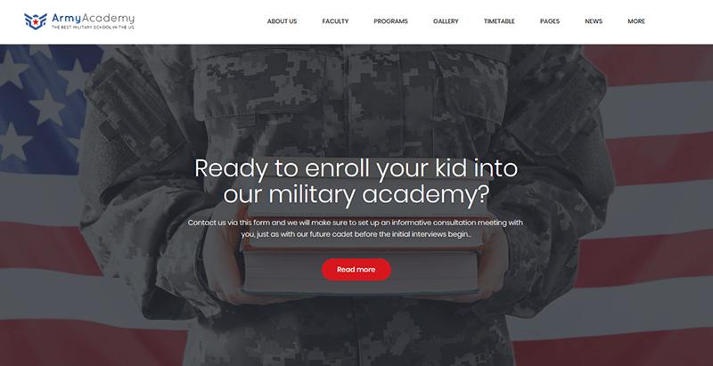 Army academy theme wordpress