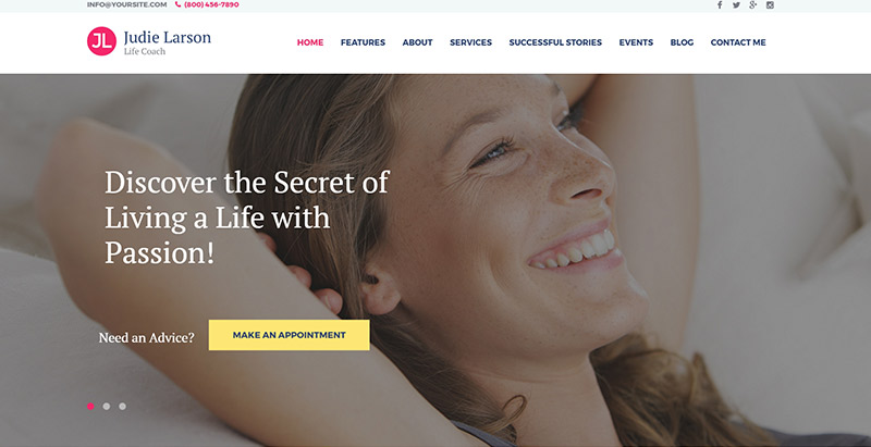 Lifecoach Themes Wordpress Creer Site Web Coaching Vie Sante Developpement Personel Nutrition