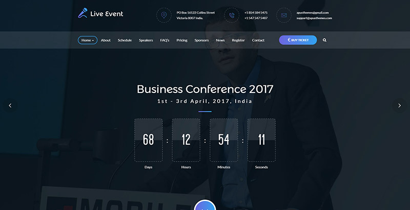 Live event themes wordpress creer site web evenements conference seminaire events